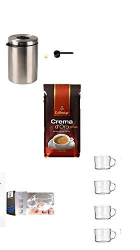 Xavax Kaffeedose für 1kg Kaffeebohnen, Tee, Kakao, mit Aromaverschluss, Edelstahldose, silber + Dallmayr Kaffee Espresso Intenso Kaffeebohnen, 1er Pack (1 x 1 kg) + Design Glastasse, Kaffeetasse, Kaffee, Tasse, Glas, Espresso 100ml, 4er Pack im Geschenk Karton