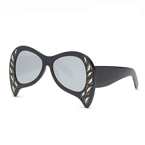 DX Neue Casual Persönlichkeit Großen Rahmen Fledermaus Männer Und Frauen Im Freien Einkaufen Fotografie Reise Mode Schutzbrille Polarisierte Sonnenbrille (Farbe: Schwarz Rahmen Silber linse)