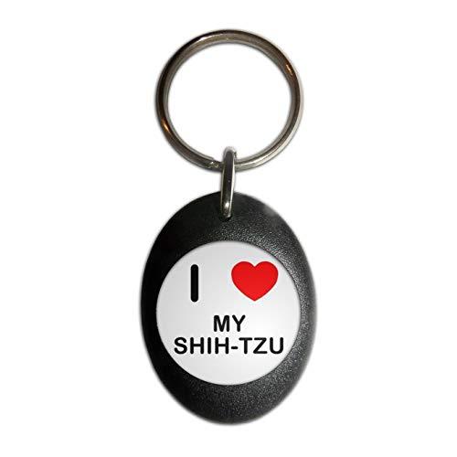 BadgeBeast.co.uk I Love My Shih Tzu - Schwarzer ovaler Plastikschlüsselring -
