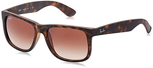 Ray-ban justin occhiali da sole unisex, marrone (montatura: light havana rubber, lenti: braun grandiert), 55 mm