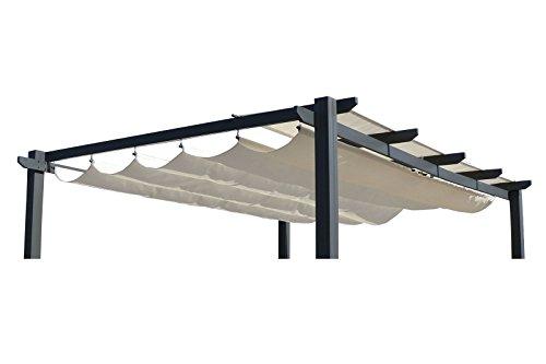 OUTFLEXX Ersatzdach für LECO Pergola, Garten-Pergola in creme, Pavillon aus Polyester Textil,...