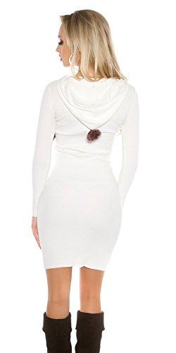Damen langarm Basic Feinstrick Rippstrick Strick Kleid Strickkleid Minikleid Long Kapuzenpulli Kapuzenpullover Pullover Strickpullover Hoodie Shirtkleid Bommeln Weiß