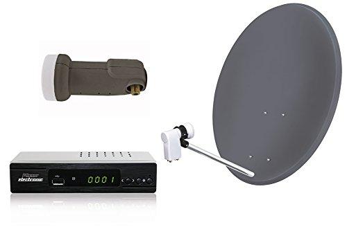 Skymaster 19572 - Equipo de TV por satélite (antena parabólica, receptor por satélite, mando a distancia), color negro