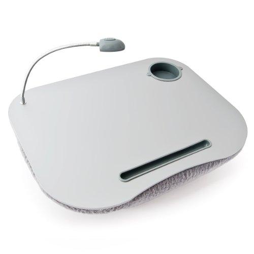 Relaxdays 10012569 Laptoptisch Notebook Knietisch mit Licht und Getränkehalter