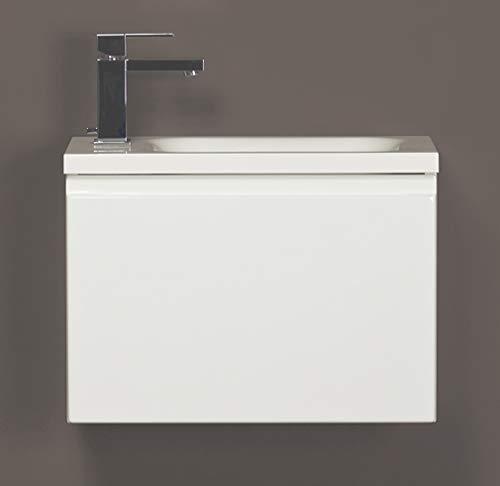 Quentis Waschplatzset Faros, Breite 50 cm, Waschbecken und Unterschrank, weiß glänzend -
