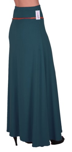 EyeCatch - Romina Aux Femmes Gitan Longue Jersey Dames Belted Maxi Robe Évasée Jupe Sarcelle
