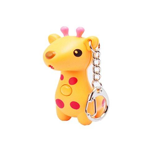 WODEJIAYUAN Neuheit-nette Giraffe LED KeyChain Schlüsselring-Fackel mit Licht u. Stichhaltigem Ton KeyChain Schlüsselring, der für Beutel hängt (Orange) (Gefroren Für Drei-jährige)