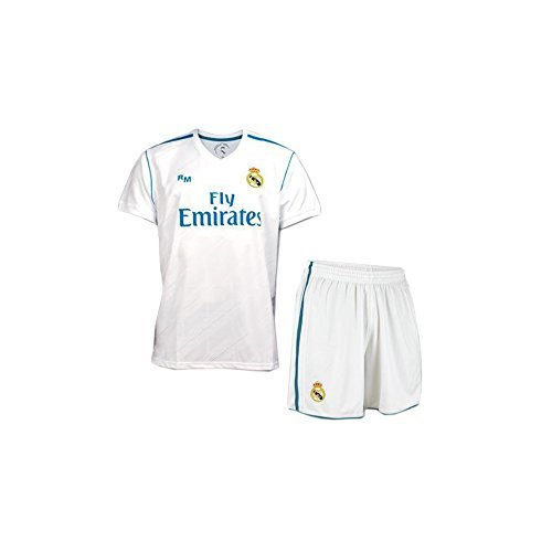 BOX SET 1ª EQUIPACION REAL MADRID REPLICA OFICIAL 2017-2018- TALLA 10 AÑOS