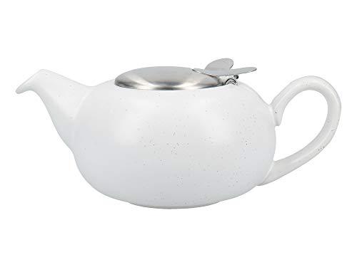 London Pottery Kleine Teekanne mit Teesieb für losen Tee, Steingut, Weiß, 2 Tassen (500 ml) (Gesprenkelte Steingut)