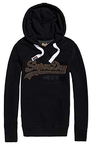 Superdry Damen Vintage Logo Sparkle Chenille Pullover, Schwarz (Black 02A), X-Large (Herstellergröße: 16) -