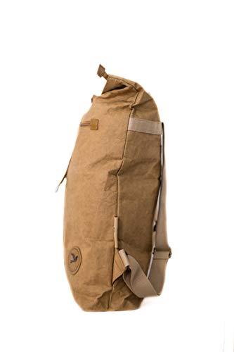 PAPERO ® Rucksack aus Kraft- Papier | Ultra minimalistisch Herren Damen, Robust, Wasserfest Vegan fair nachhaltig Urban Style FSC Zertifiziert | Kurier Taschen, Rolltop Laptop Farbe:Hellbraun - 4