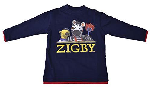 Zigby - das Zebra T-Shirt Langarm Dunkelblau Gr. 116 strapazierfähiges T-Shirt Mädchen Knaben Jungen Girls Zigby und Seine Freunde (Knaben Shirt Langarm)
