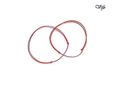 2 Bracelets Kabbale rouge, Bracelets minimalistes, Cordon 0,5 mm, nœuds coulissants, Bracelets Porte bonheur, Bijoux Homme Enfant Femme, réglable 14.50 cm - 20.00 cm
