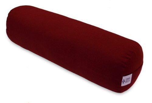 große Yogarolle Zylinder Kissen ca. 63 x 20 x 20 cm, Bezug bordeaux rot abnehmbar aus Baumwolle Leinen gefüllt mit EPS Styropor Perlen, große Zenrolle Bolster für Yoga Meditation (Perlen Bolster Kissen)