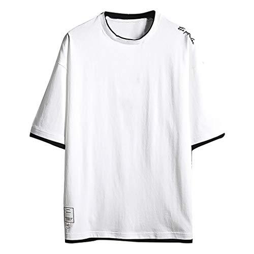 LUCKYCAT Herren T-Shirt Kurzarm Oversize Slim-Fit Basic T-Shirt Rundhals Herren Fitness T-Shirt meliert Männer Kurzarm Shirt für Gym Training Oversize Herren Crew Neck Body-Fit Shirt Sommer T-Shirt