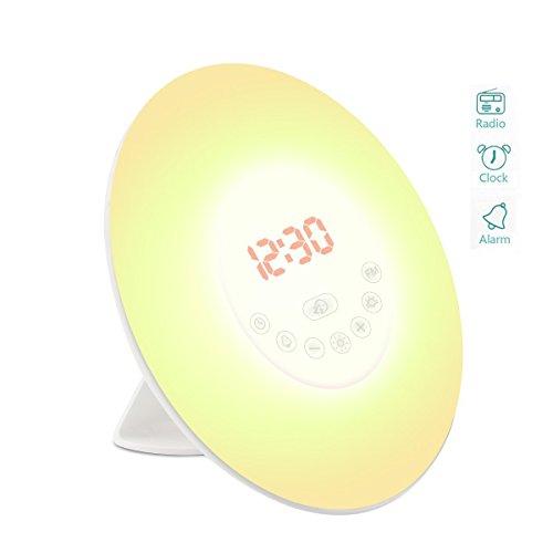 Wake Up Licht Sinobest Lichtwecker Wecker Sonnenaufgang Simulation Tageslichtwecker mit Natur Sounds, Dämmerung Fading Nachtlicht, Digitales FM Radio, Touch Control und USB Ladegerät