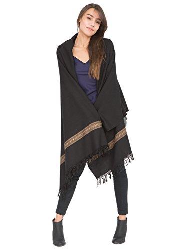 Châle 'Mansi' en laine mérinos (Echarpe extralarge 100 X 200cm)Noir