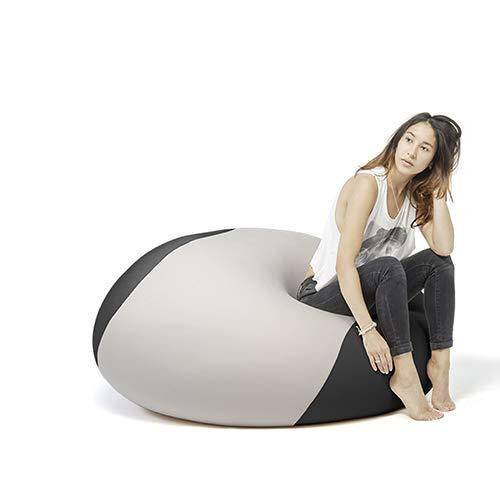 Terapy - OLLIE Relax Indoor Sitzsack - Sitzkissen, 100x100x80cm in hellgrau/schwarz