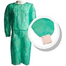 Pack 10 Ud. Bata protección médica desechable. Verde. Con mangas y puño elástico