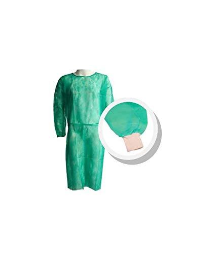 Pack 10 Ud. Bata protección médica desechable. Verde