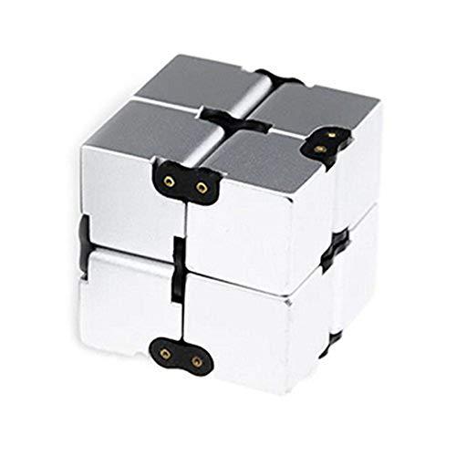 Jeerui Infinity Cube Zappeln Spielzeug, Single Finger Endless Spaß Dekompression Stress Relief Zappeln Anti Angst Spielzeug für Kinder und Erwachsene-ABS galvanisieren Metall (2 Farben)