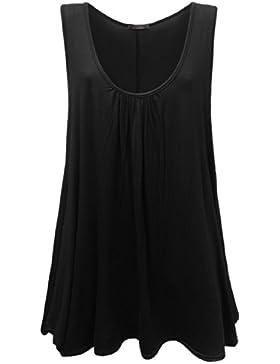 Vestido largo para mujer sin mangas, colores lisos, talla grande