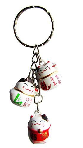 (CHN Elements.BCH-6-Messingglocke Feng Shui Glücksbringer Katzentasche, Schlüsselanhänger für Glück, Wohlstand und Sicherheit)
