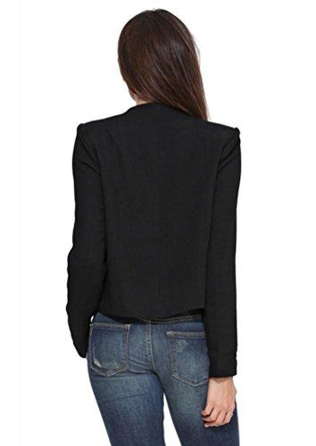 ZKOO Donne Tempo Libero Cappotto Maniche Lunghe Giacca Slim Fit Elegante Ufficio Business Giacca Tuta Blazer Top Camicetta Outwear Maglietta Nero