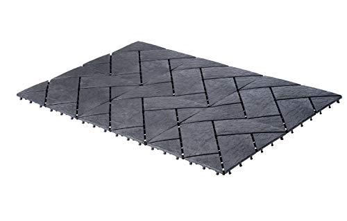 UPP Outdoor Gartenplatten Klickfliesen 30 x 30 cm   Wetterfester Bodenbelag für Balkon, Garten & Terrasse   Einfach & Schnell verlegt [24 Stk, Schiefer]
