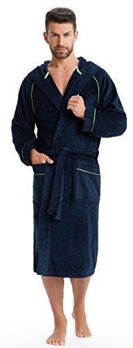 Preisvergleich Produktbild LEVERIE sportlicher und kuschelweicher Bademantel / Saunamantel für Herren mit Kapuze und modischen Kontrastnähten (4XL, dunkelblau/grün)