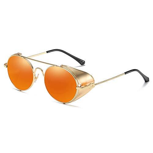 AMZTM Vintage Sonnenbrille Steampunk Stil Runder Metallrahmen für Frauen und Männer - Viktorianischen Double Bridge Brille mit Seitenschild(Gold Rahmen Orange Linse)