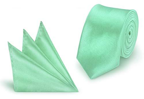 Krawatte + Einstecktuch Mint slim aus Polyester einfarbig uni schmale 5 cm (Mint-krawatte Und Einstecktuch)