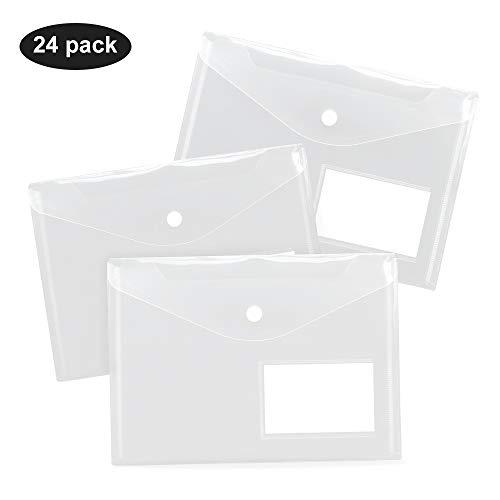 Uni-Fine 24 Pezzi Cartelline Trasparenti A5 Borsa per Documenti Impermeabile Buste Portadocumenti di plastica con Bottone e ID finestre per Archivio Ufficio e Accessori per Scrivania