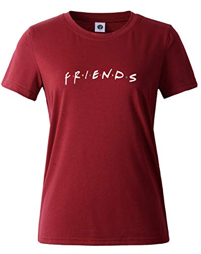 6ad81dcd08178 BLACKMYTH Mujer Moda Verano Casual Camisetas Algodón Manga Corta Graficas T -Shirts Wine Red Small
