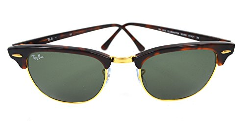 Ray-Ban Clubmaster Occhiali da Sole - Montature Colore Oro e Marrone, Lenti in Cristallo G15 - 49mm Lente Dimensione - Medio/Grande