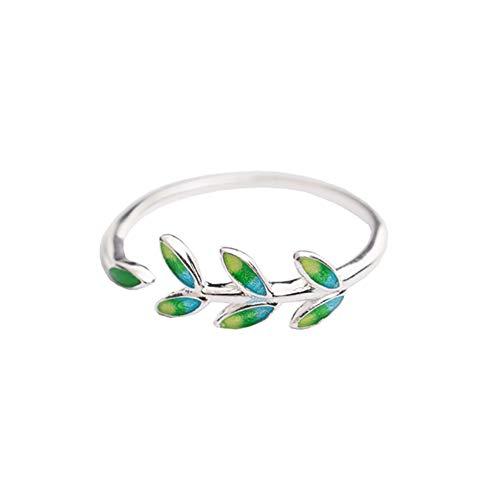 Fansi 1PC Olive Branch Ring Open Leaf Ring grün Leaf Drop Öl Ring Größe: Verstellbar (grün) (Attraktion öl)