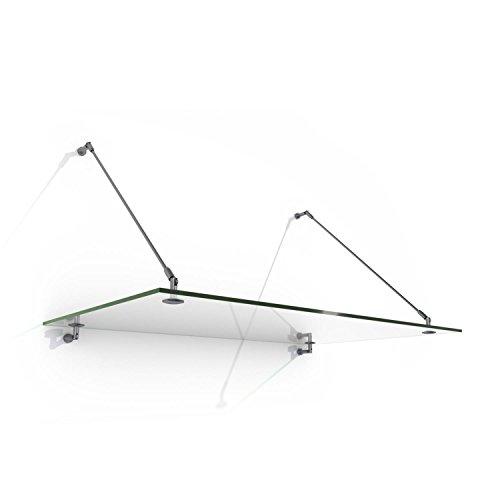 Blumfeldt Skygate 150 Marquesina de cristal (150x90 cm, ángulo ajustable, sujeción de acero, vidrio de seguridad, incluye material fijación, acero inoxidable)