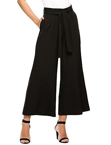 Teamyy Femmes Mode Vintage Taille Haute à Rayures Jupe Pantalon à Jambe Large Avec Ceinture