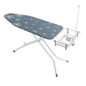 WENKO Bügeltisch Professional, Bügelbrett extra breit, geeignet für Dampfbügelstationen, absenkbare Ablage, 130 x 99 x 48 cm, weiß