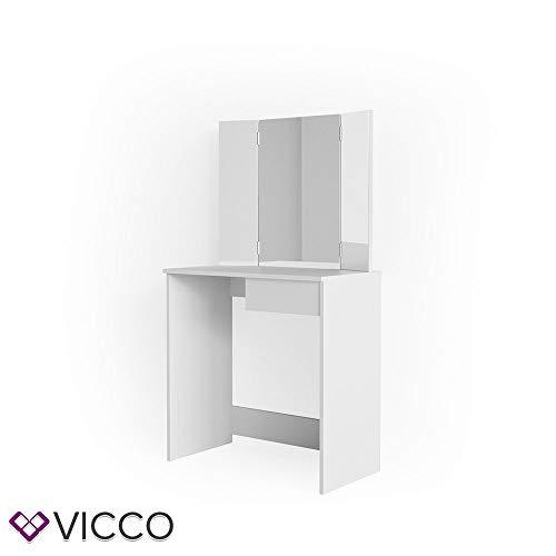 Vicco LED Schminktisch Olivia Weiß Kosmetiktisch Frisierkommode Frisiertisch Eck Spiegel