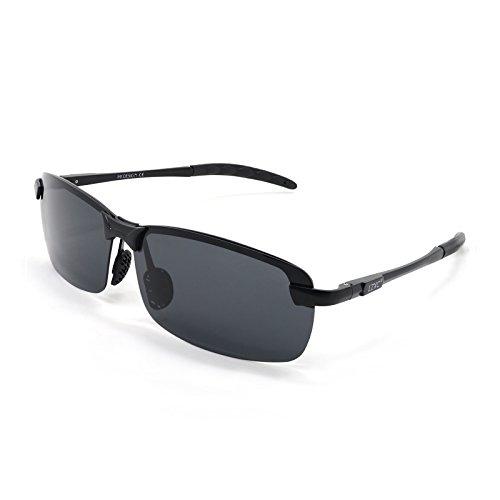 LZXC polarizzati guida occhiali da sole delle degli sport esterno della Eyewear Unbreakable Primavera cerniera Ultra-Light Regolabile AL-MG telaio Black Frame - Guida Esterno