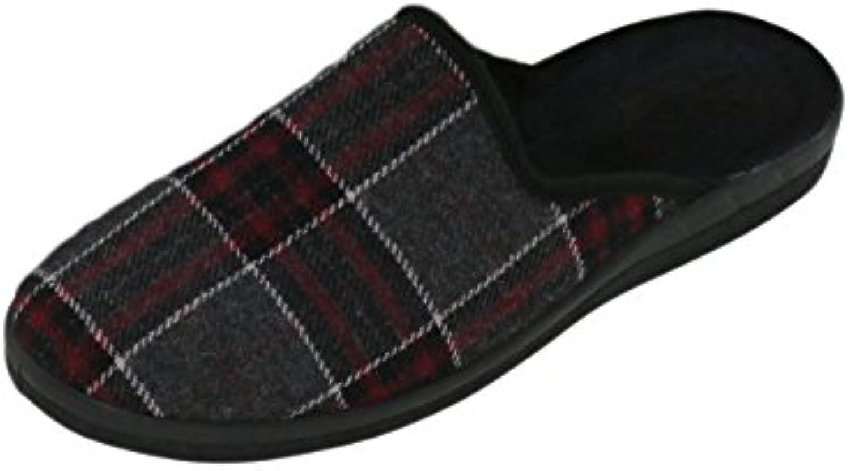 Herren Hausschuh Karierte Pantoffeln Schluppen   optimaler Komfort und flexibilität   Farben: Grau/Rot und Grau