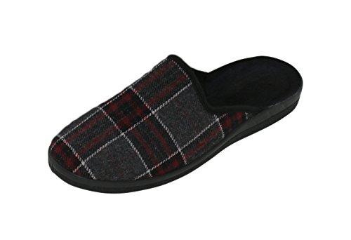 Homens Deslizador Quadriculado-chinelos Schluppen - Conforto E Flexibilidade Cores Ideais: Cinzento / Vermelho / Tamanhos Azuis: 40-45 De Vendedor Marca