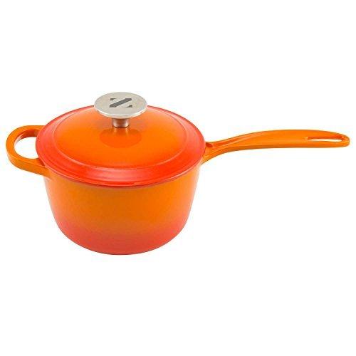 zelancio 2,5Quart Stieltopf Topf Emaille verdeckt Sauce Topf aus Gusseisen 2 Quart Orange