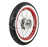 Komplettrad - VORNE - 1,5x16 Zoll - Alufelge rot eloxiert und poliert, Chromspeichen - MITAS-Weißwandreifen MC2 montiert