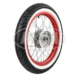 """Complet–Roue avant–Rouge 1,5x 16""""– Jante en aluminium anodisé et poli chromé Blanc mural rayons–Mitas de pneus MC2monté"""
