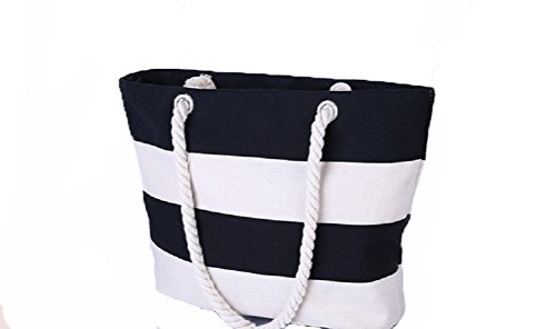 Samanthajane Clothing , Borsa da spiaggia  Donna Large Stripe Black