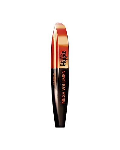 L'Oréal Paris Mega Volume Miss Hippie Mascara, schwarz - Wimperntusche für texturiertes und unbändiges Volumen - 1er Pack (1 x 8 ml) -