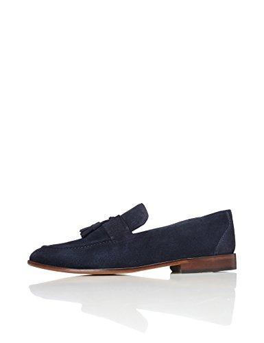 FIND Herren Tasselloafer aus Wildleder, Blau (Navy), 43 EU (Navy Leder-loafer)