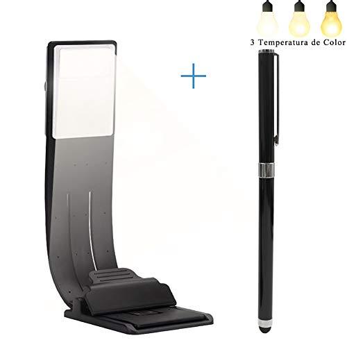 Lámpara de Lectura Libro Luz USB Regulable Recargable para Lectura Nocturna with 2 in 1 Lapiz Táctil Capacitivo Ajustable 3 Temperatura de Color Clip Magnético Marcador Fexible 360